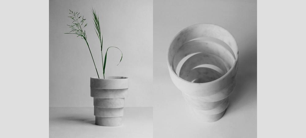 Дизайнерская ваза из мрамора