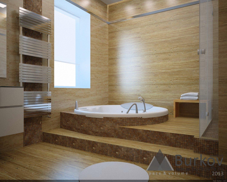 Круглая ванна в подиуме.