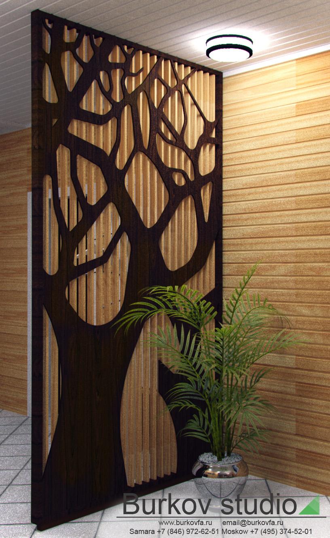 Перегородка из дерева для интерьера загородного дома