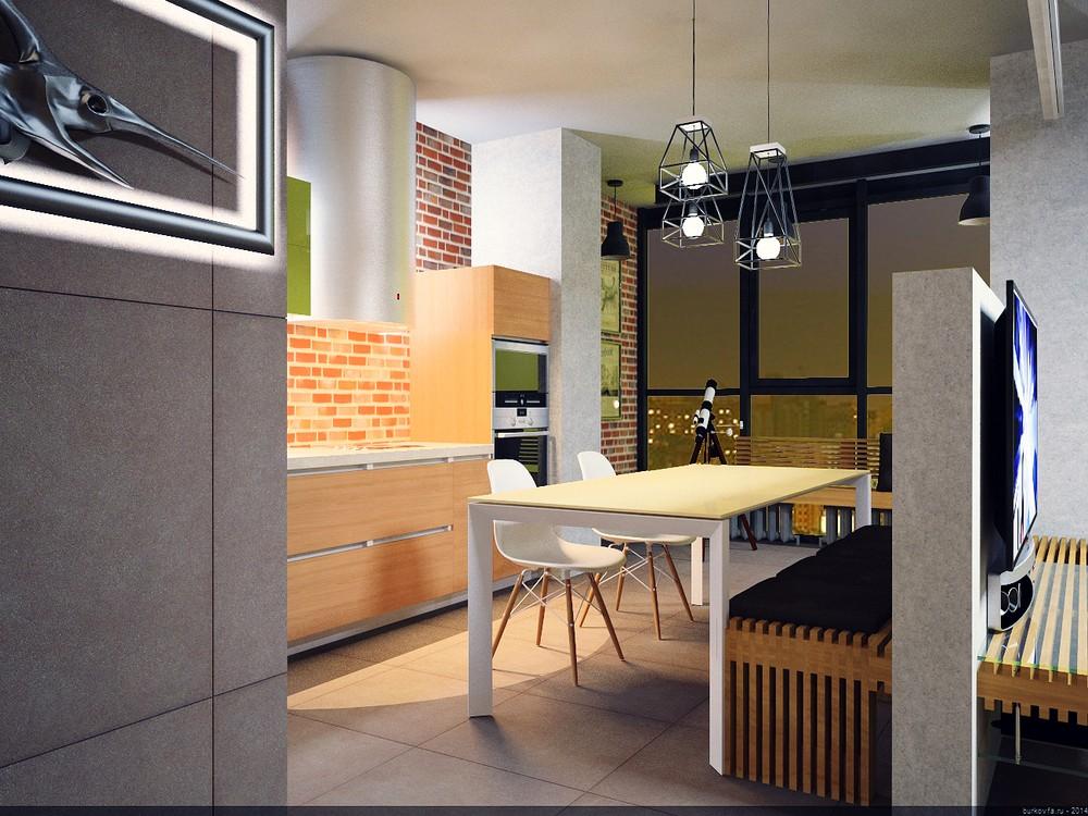 Кухня в лофт интерьере