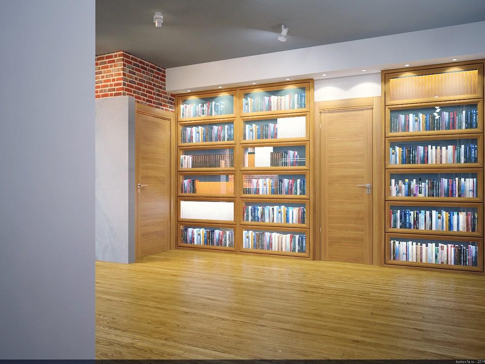 Библиотека в лофт-интерьере