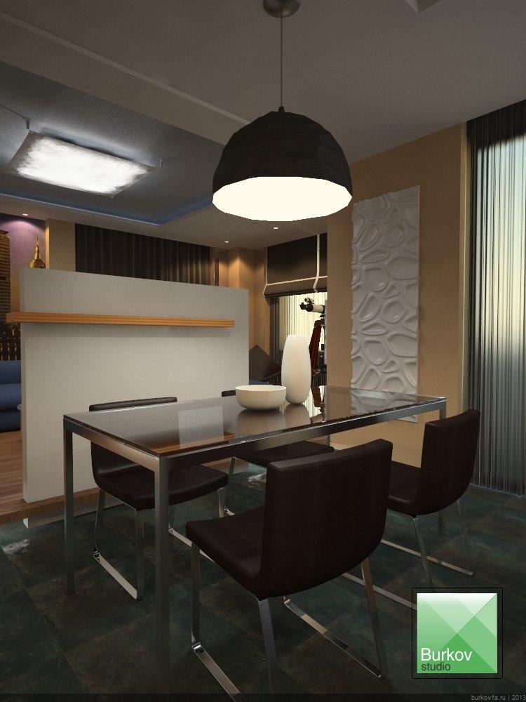 Столовая зона квартиры студии