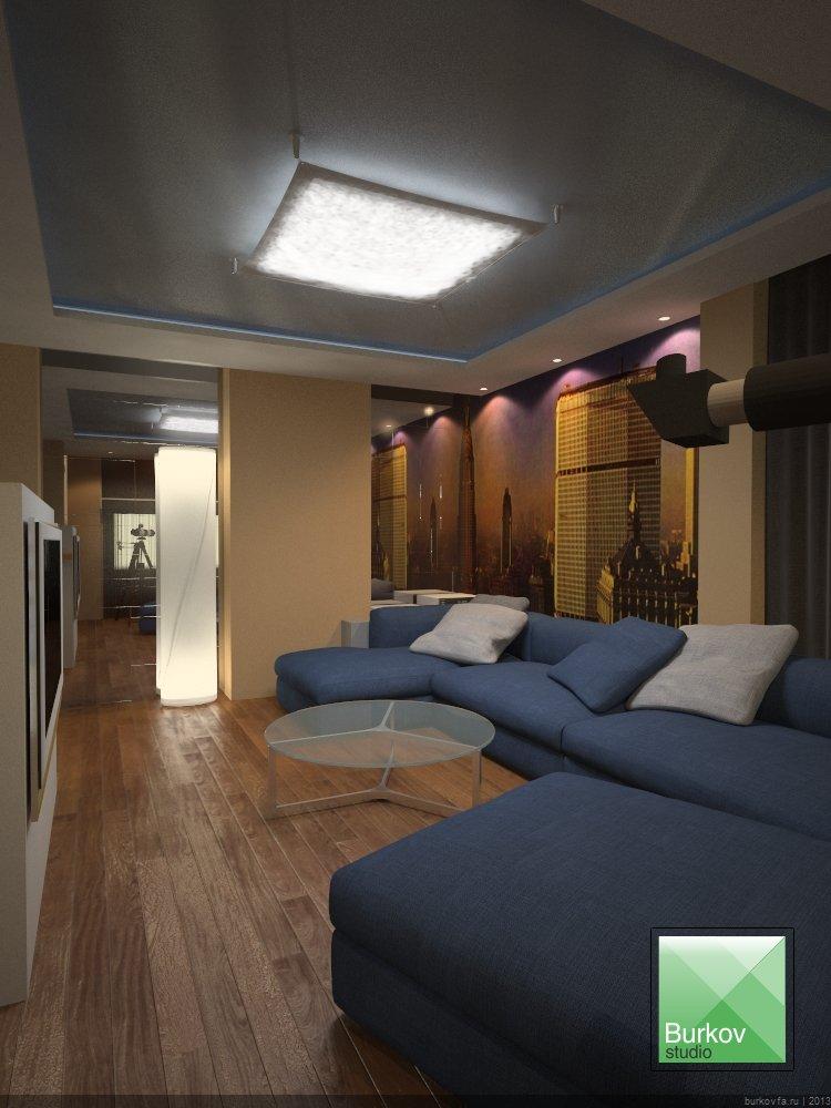 Дизайн интерьера квартиры студии в центре