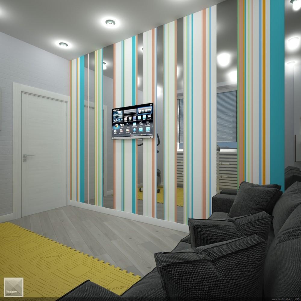 дизайн стен в тренажерной комнате