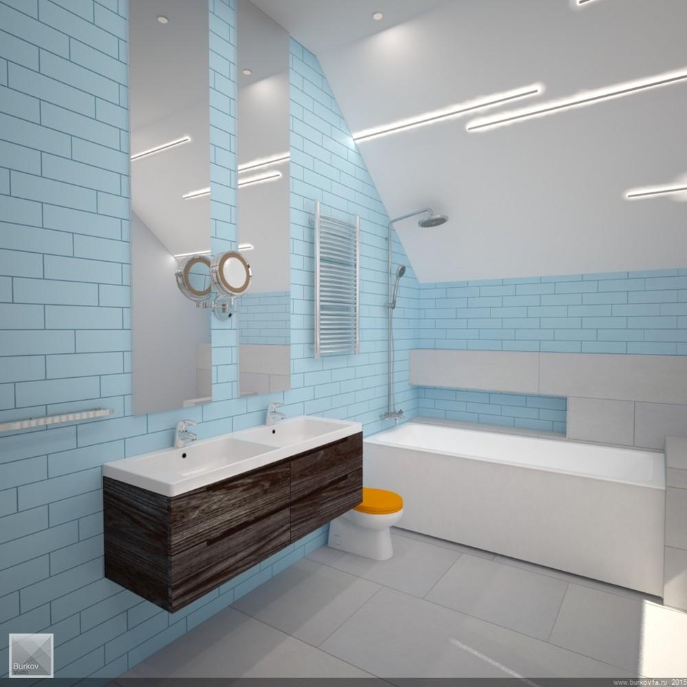 дизайн ванны на мансарде