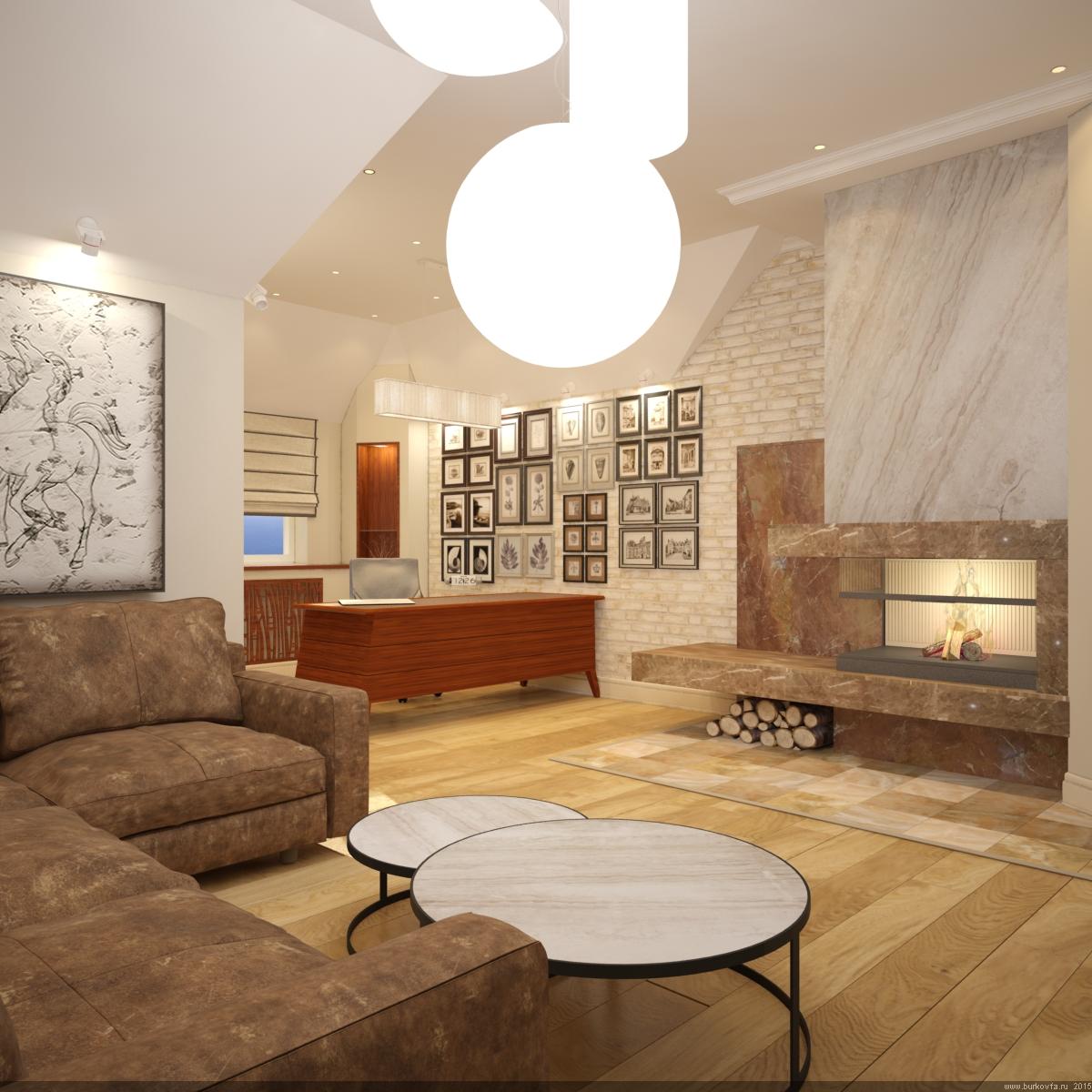Домашний кабинет на мансарде в современной классике