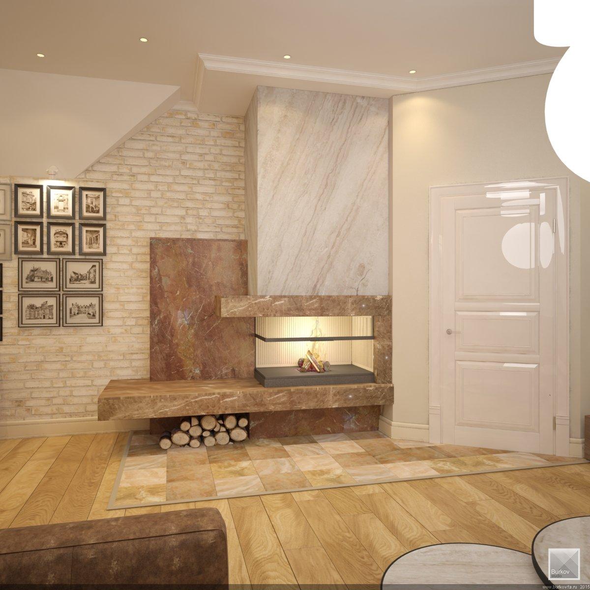 интерьер кабинета с камином в Самаре