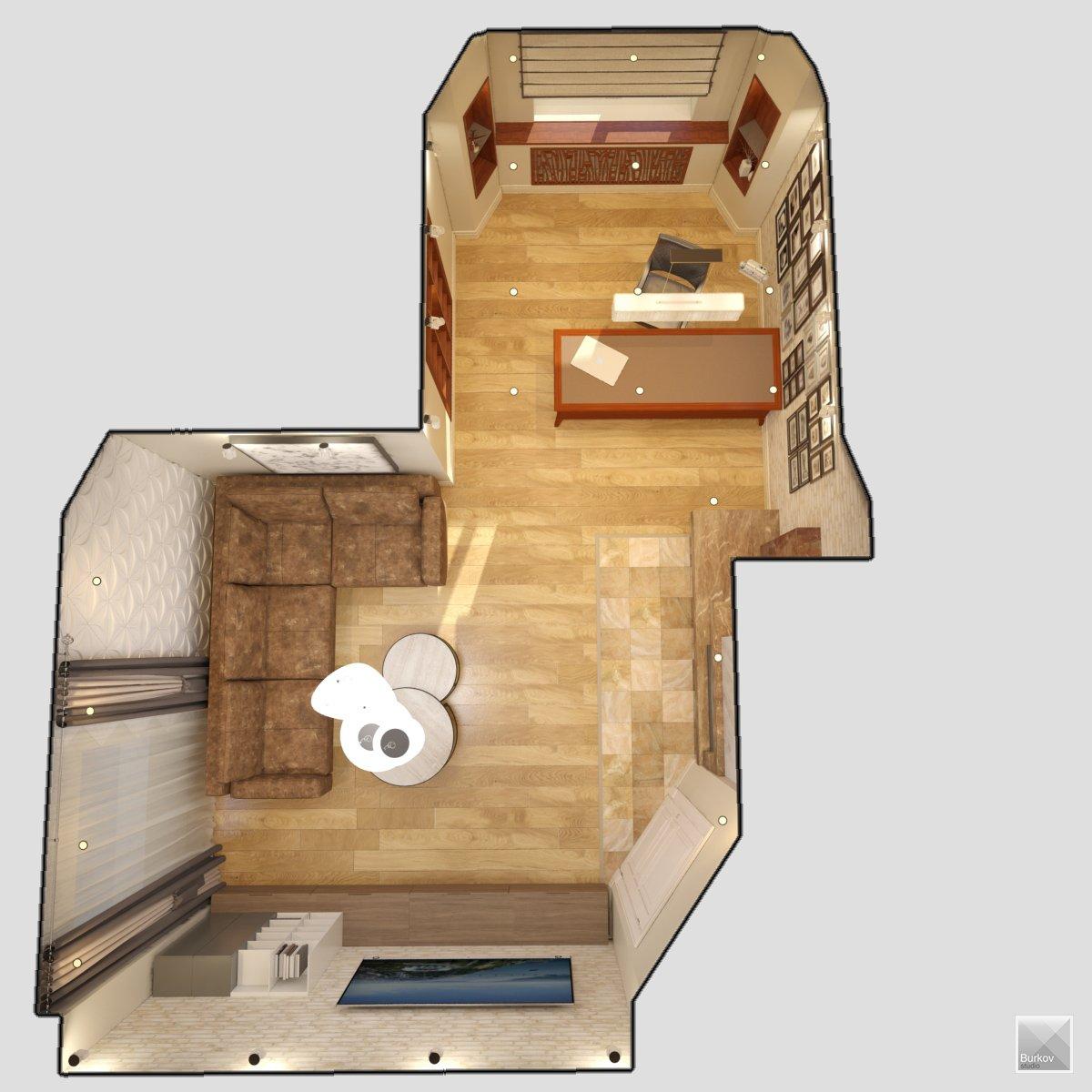 Дизайн-проект интерьера кабинета с камином