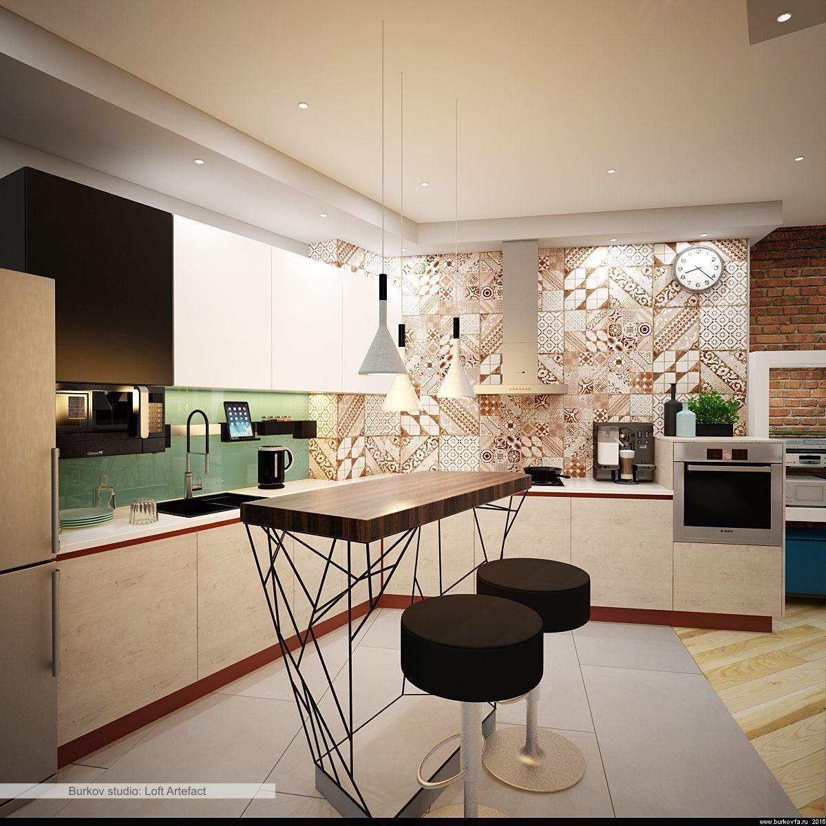 Кухня в студии с островом