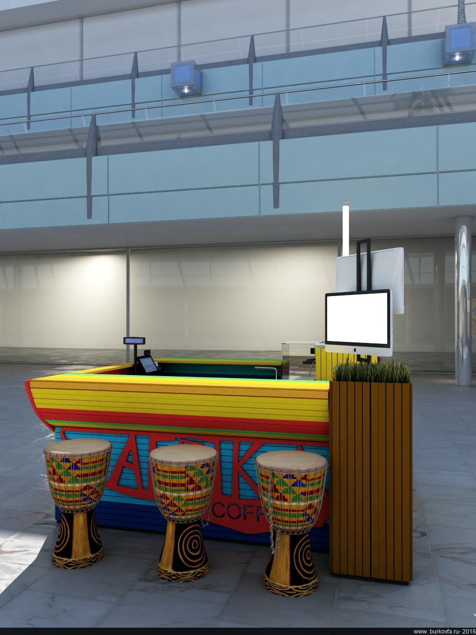фирменный стиль и дизайн мебели для продажи кофе