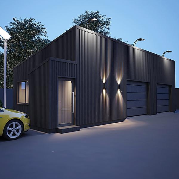 Дизайн гаража из сэндвич панелей