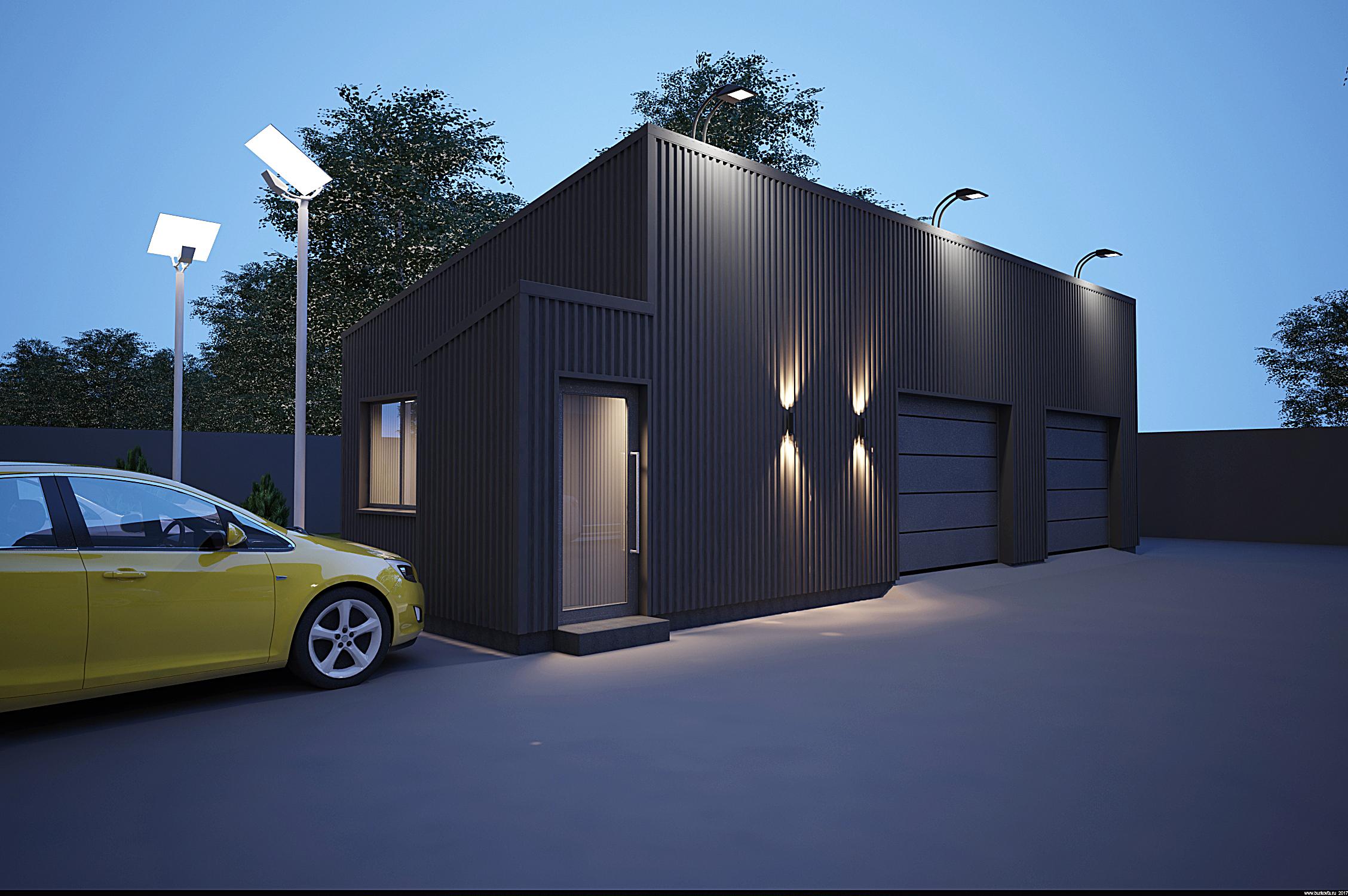 Дизайн гаража из сэндвича