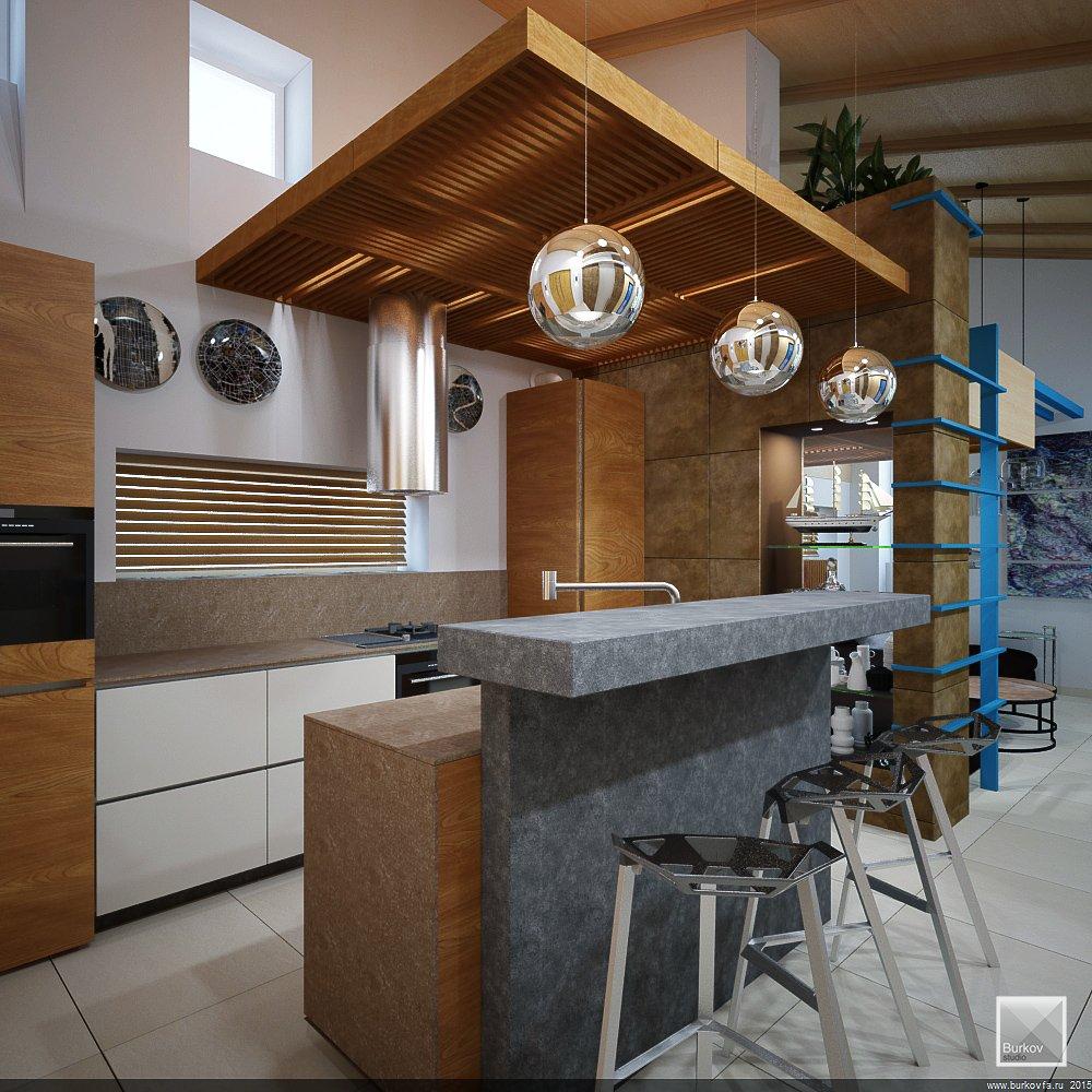 Кухонный остров из искуственного камня под бетон