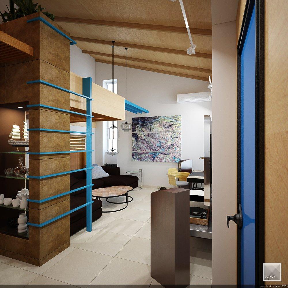 Общий вид гостиной в интерьере
