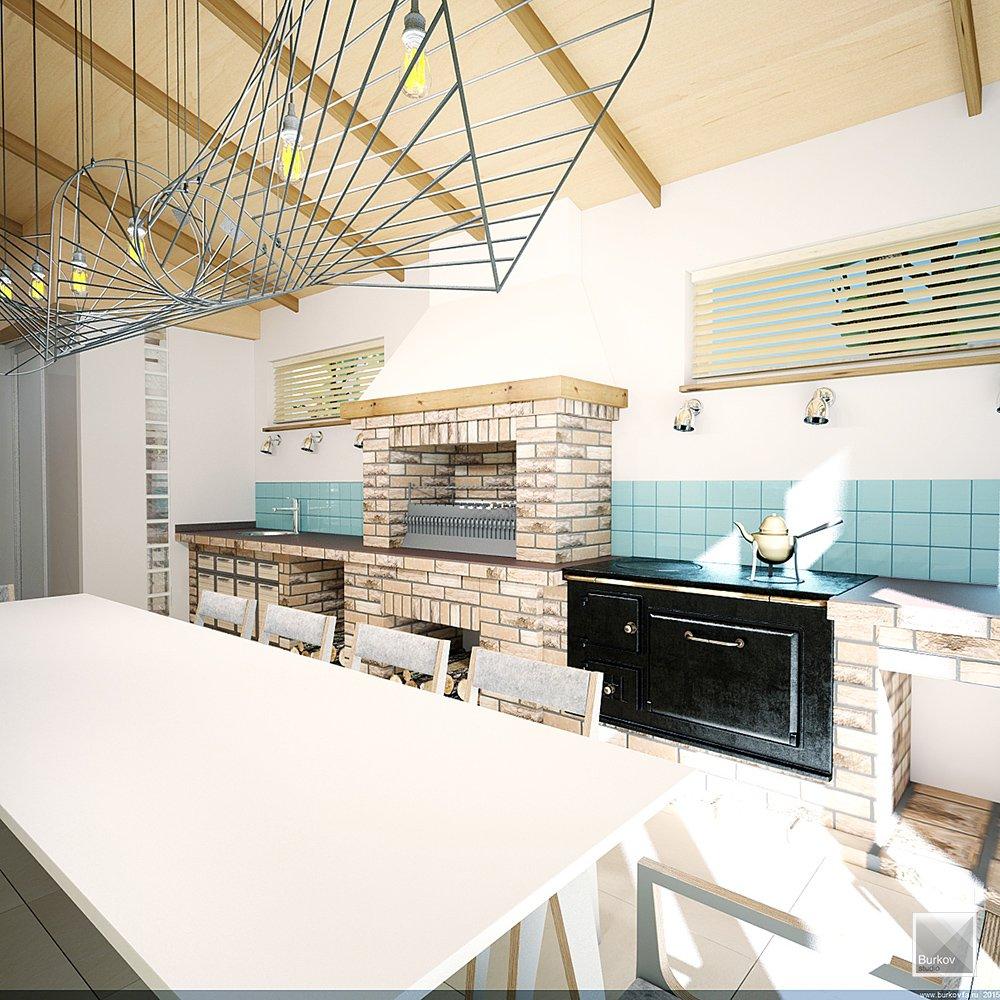 Кухня с барбекю и печью