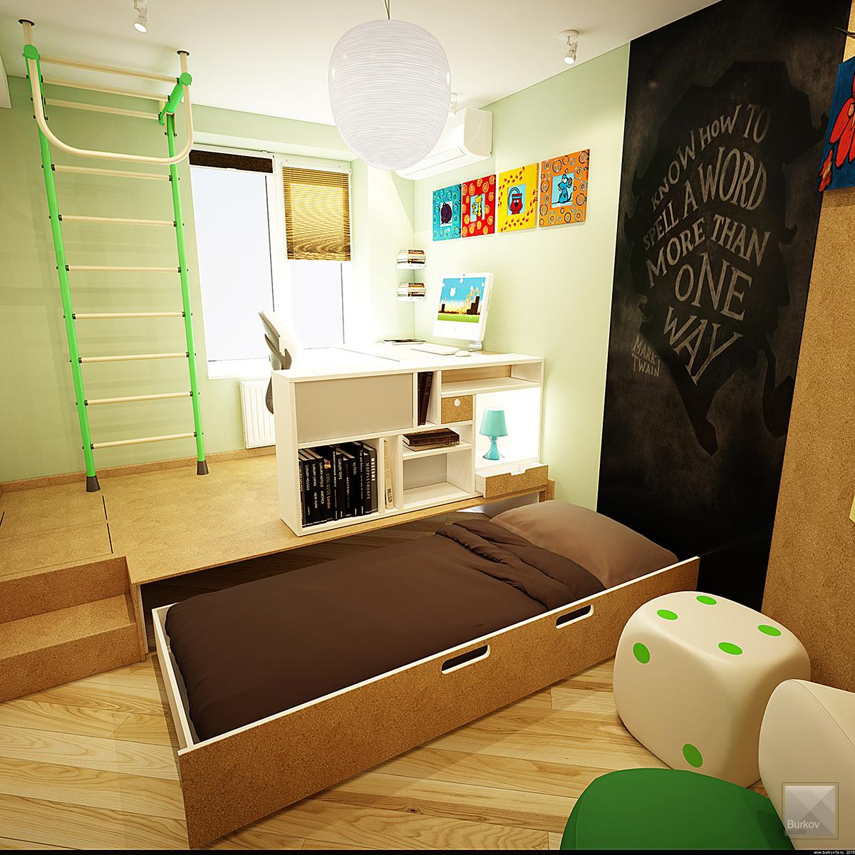 встроенная в подиум кровать