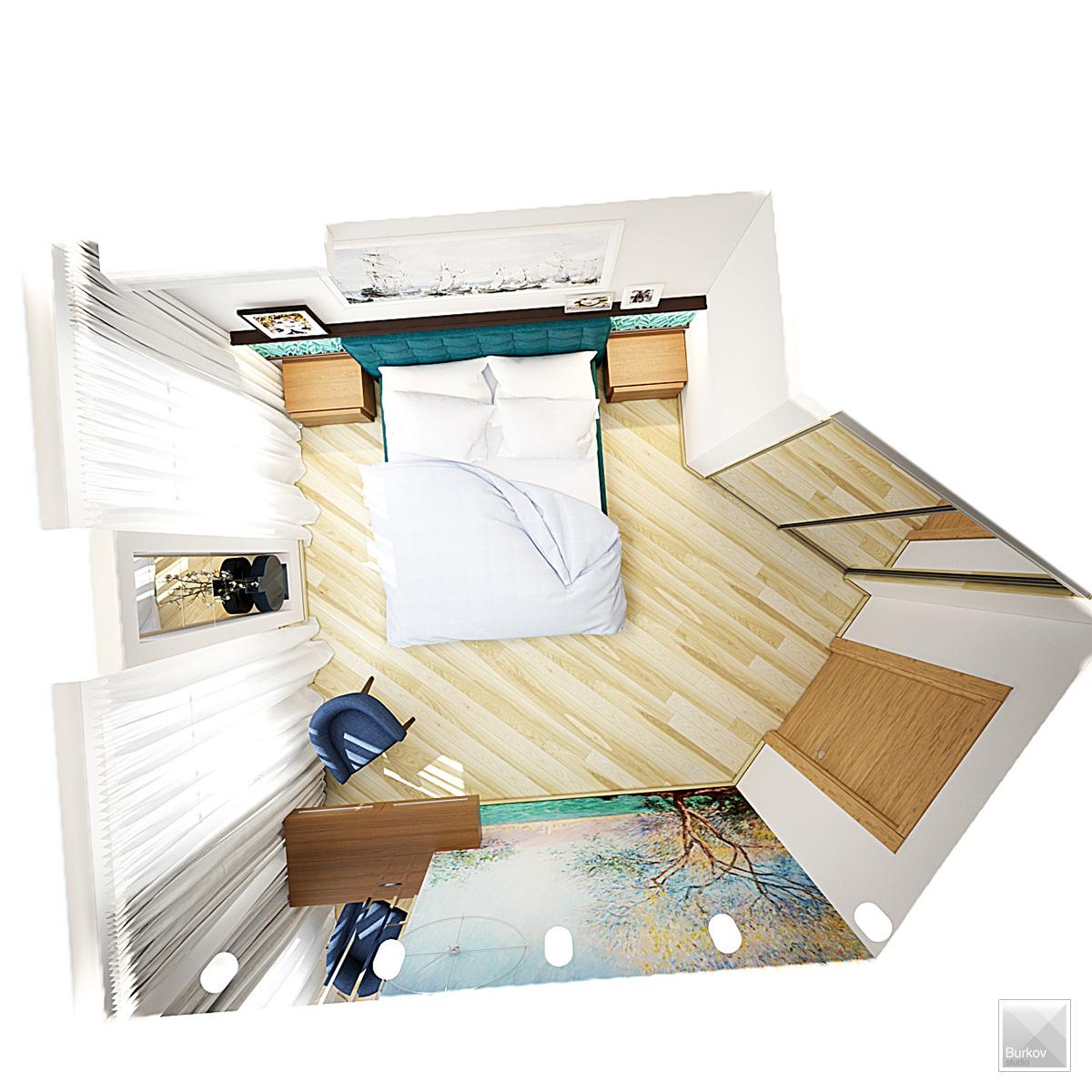 дизайн спальни вид сверху