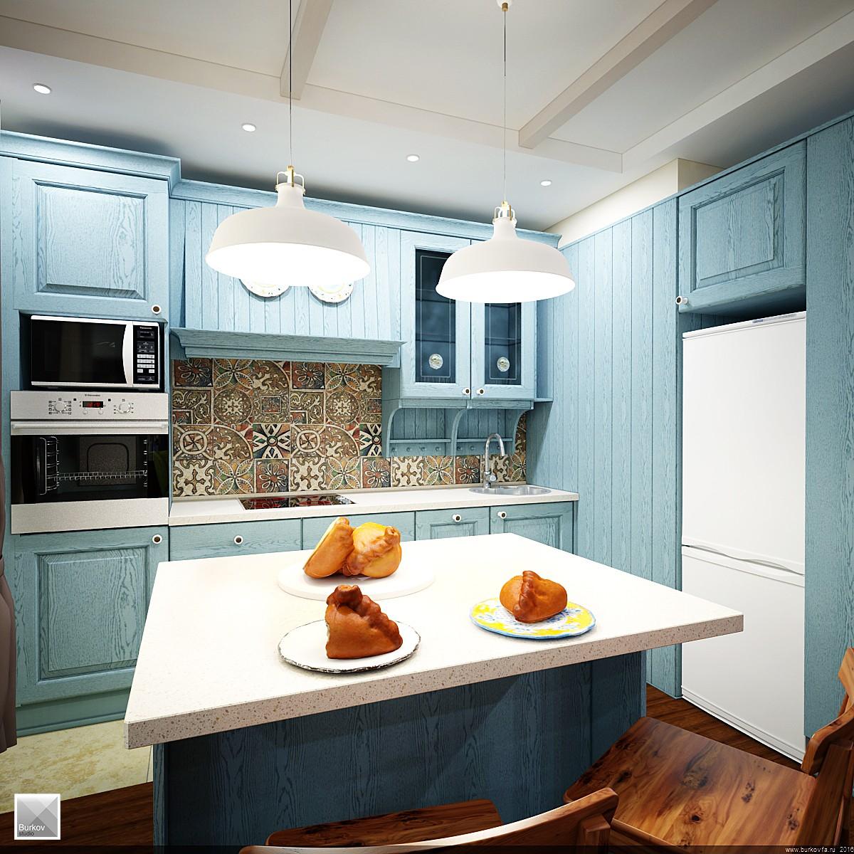 Остров кухни совмещенный со столом в кантри стиле