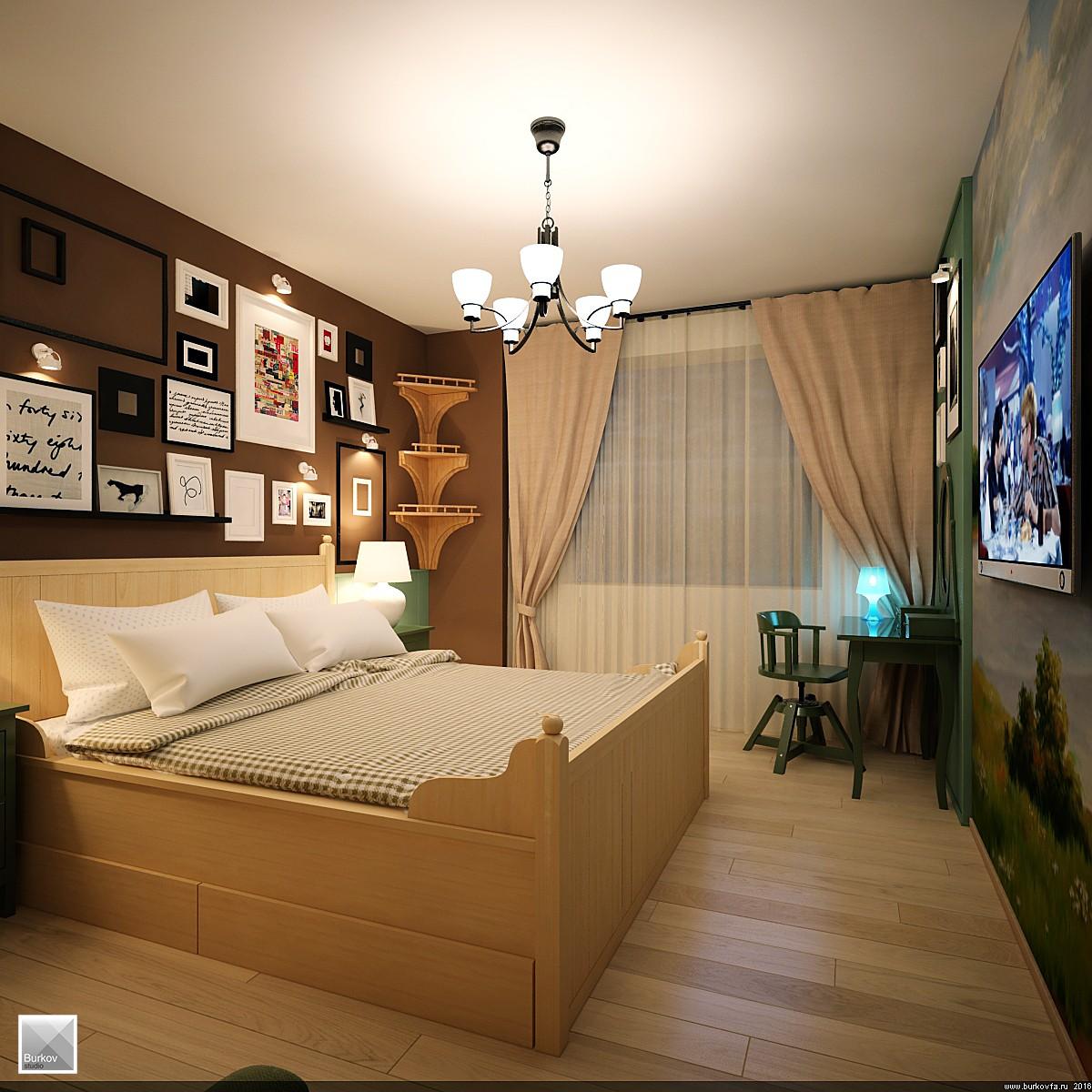 Спальня в дизайн-проекте Еловая Бухта