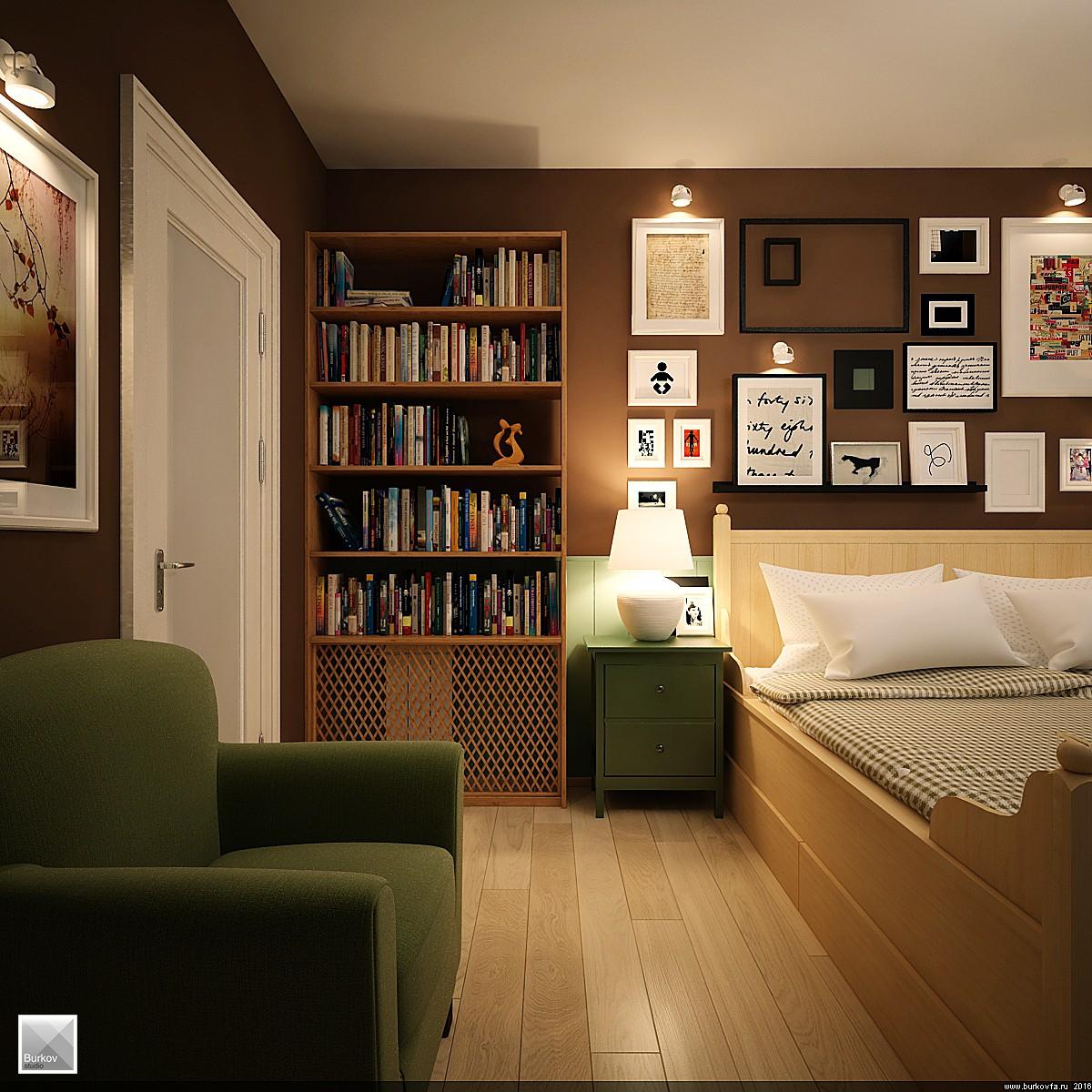 Книжный уголок в спальне