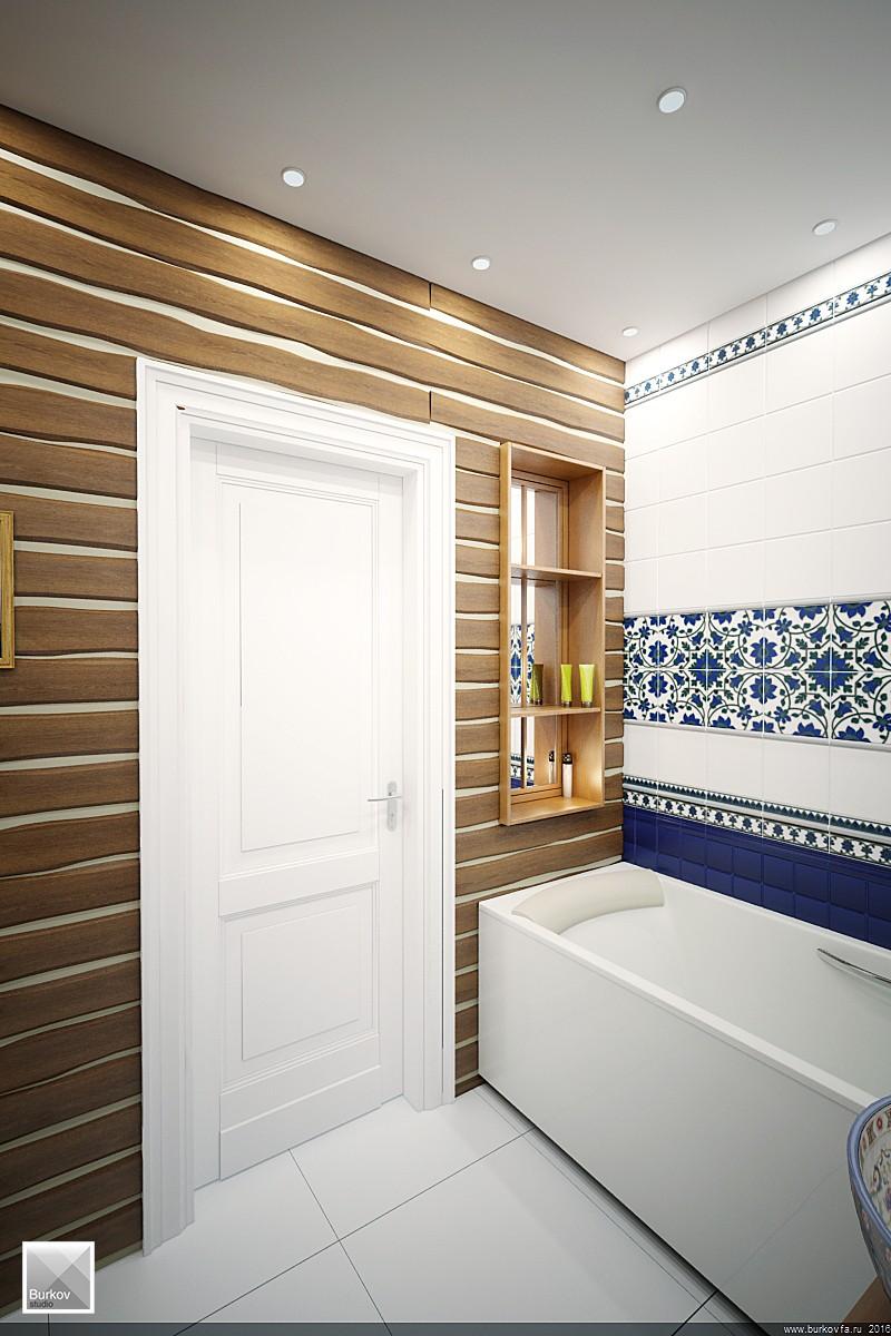 Ниша около ванны для мелочей в дизайн-прокте