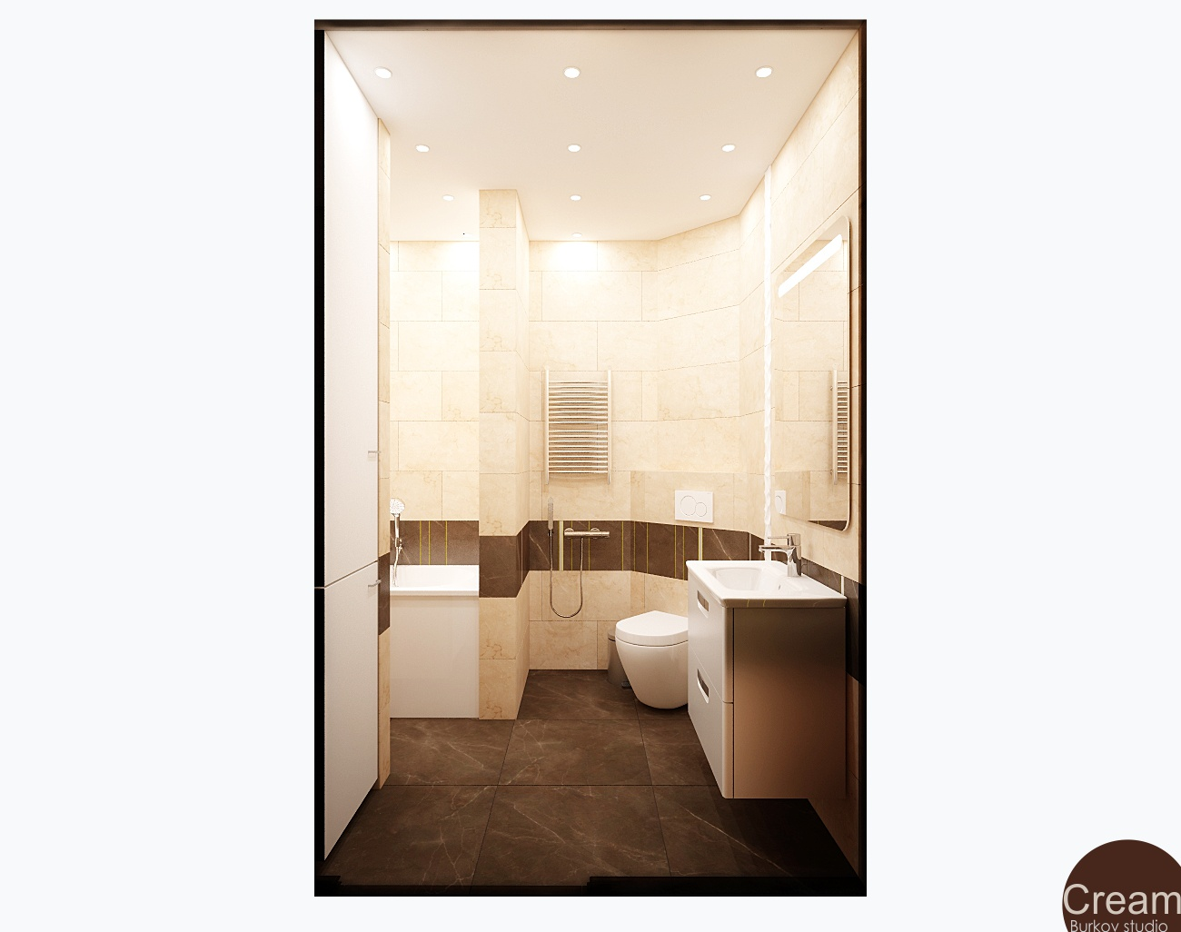 ванная в кремовых тонах