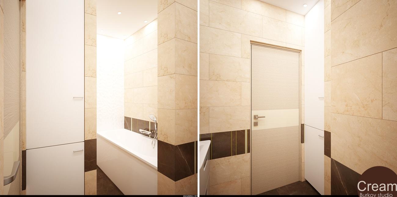 ванная интерьер в кремовых тонах