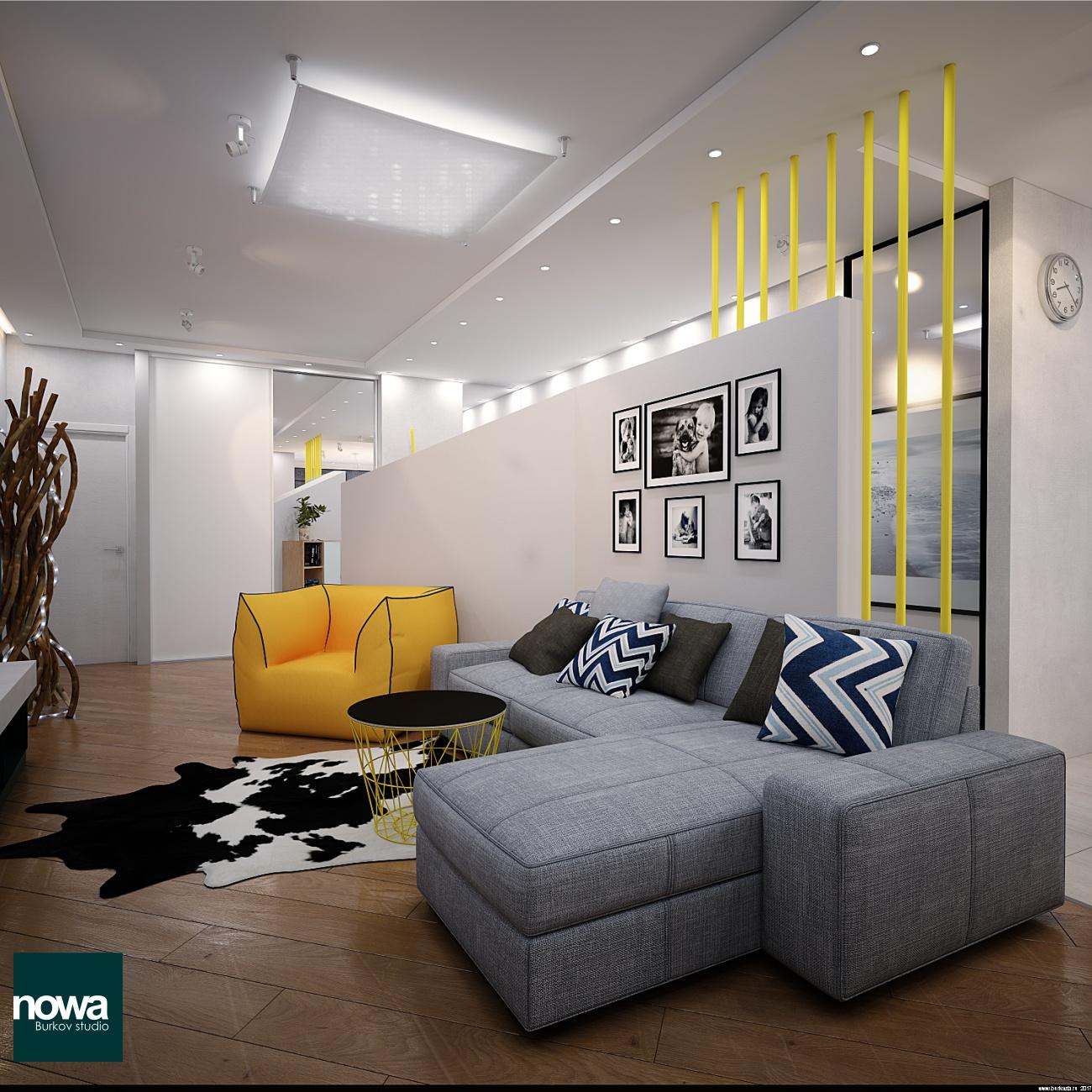 диван и бескаркасное кресло в современном интерьере