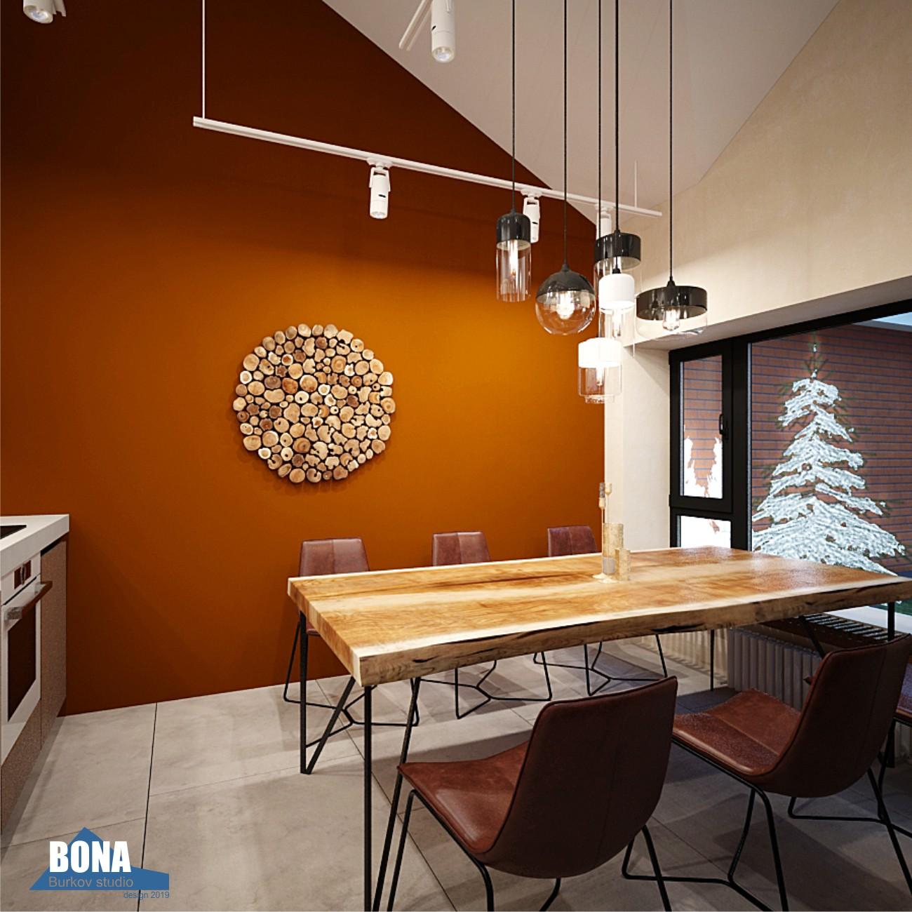 кухня-столовая со столом из слэба