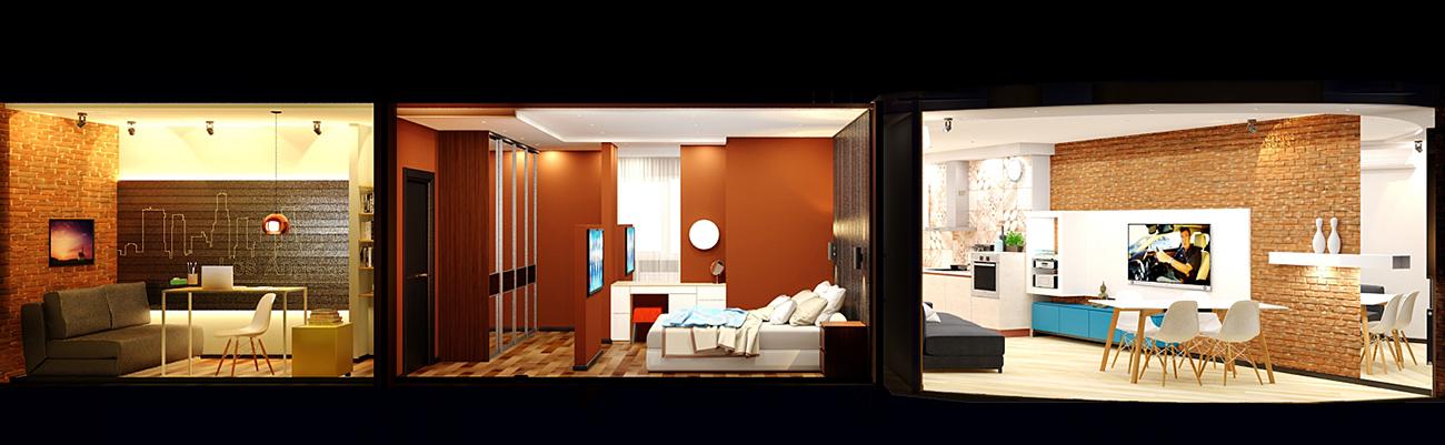 Квартира студия в лофт-стиле